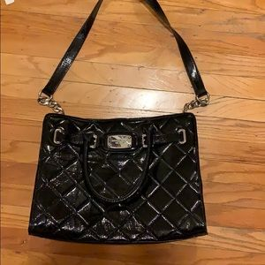 Michael kors black patent quilted bag
